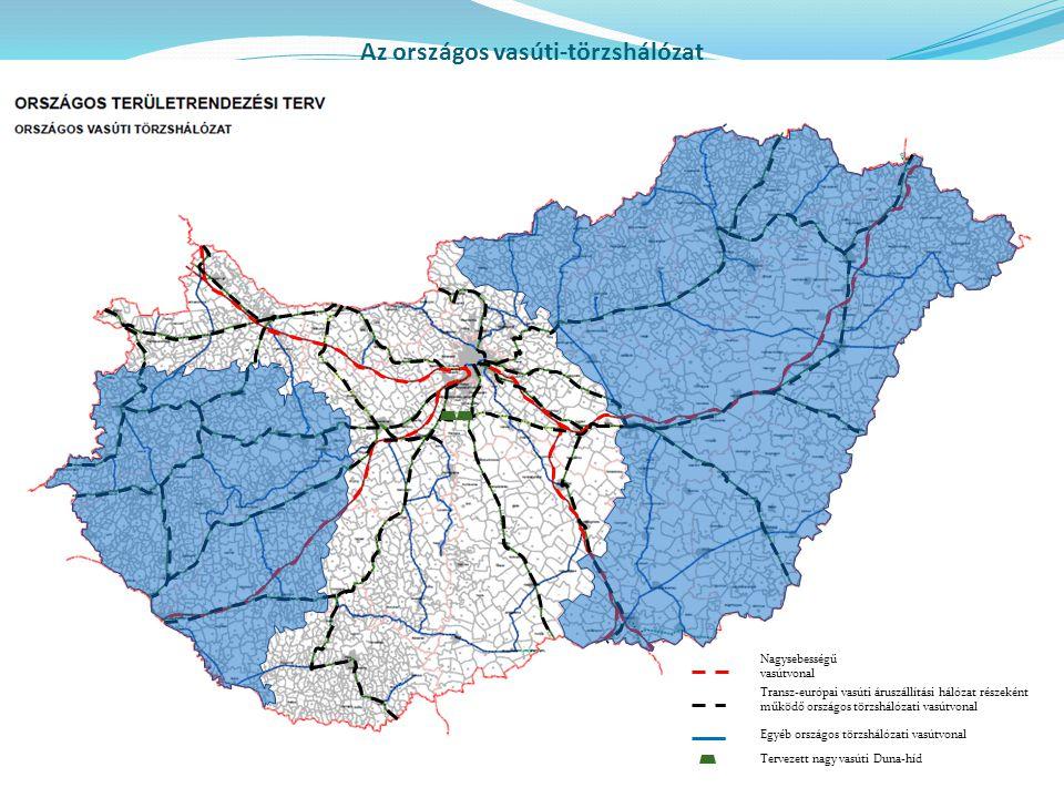 Nagysebességű vasútvonal Transz-európai vasúti áruszállítási hálózat részeként működő országos törzshálózati vasútvonal Egyéb országos törzshálózati v
