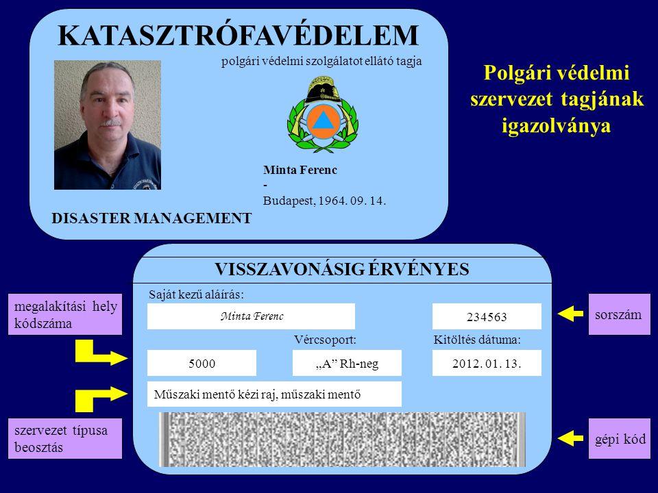 KATASZTRÓFAVÉDELEM DISASTER MANAGEMENT polgári védelmi szolgálatot ellátó tagja Minta Ferenc - Budapest, 1964. 09. 14. 234563 VISSZAVONÁSIG ÉRVÉNYES M