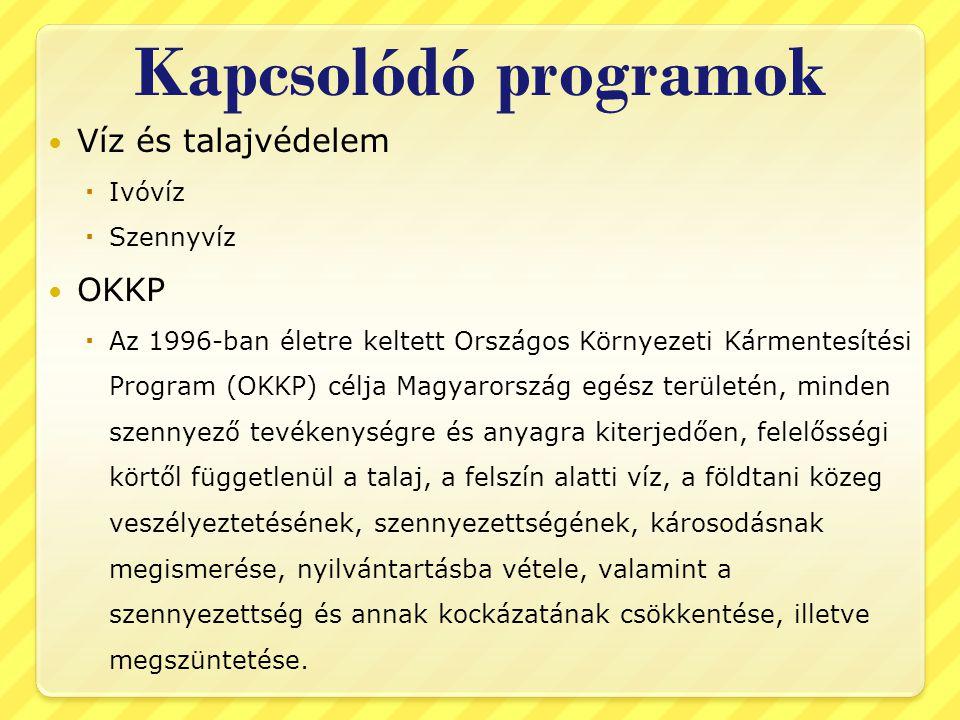 Kapcsolódó programok  Víz és talajvédelem  Ivóvíz  Szennyvíz  OKKP  Az 1996-ban életre keltett Országos Környezeti Kármentesítési Program (OKKP) célja Magyarország egész területén, minden szennyező tevékenységre és anyagra kiterjedően, felelősségi körtől függetlenül a talaj, a felszín alatti víz, a földtani közeg veszélyeztetésének, szennyezettségének, károsodásnak megismerése, nyilvántartásba vétele, valamint a szennyezettség és annak kockázatának csökkentése, illetve megszüntetése.