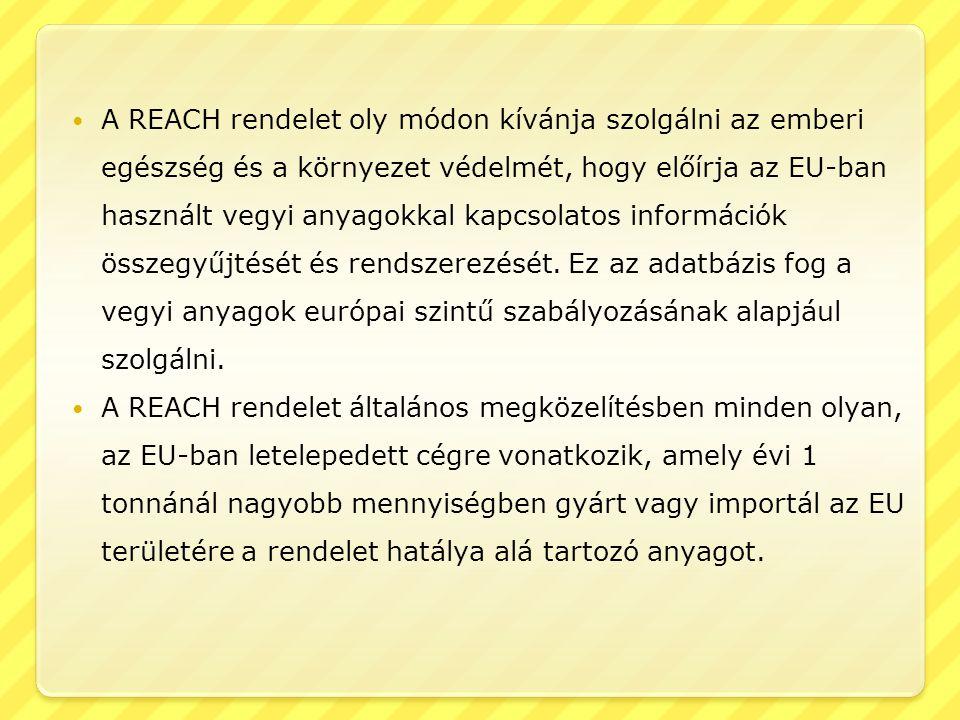  A REACH rendelet oly módon kívánja szolgálni az emberi egészség és a környezet védelmét, hogy előírja az EU-ban használt vegyi anyagokkal kapcsolato