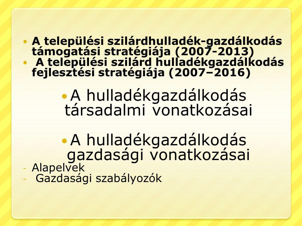  A települési szilárdhulladék-gazdálkodás támogatási stratégiája (2007-2013)  A települési szilárd hulladékgazdálkodás fejlesztési stratégiája (2007