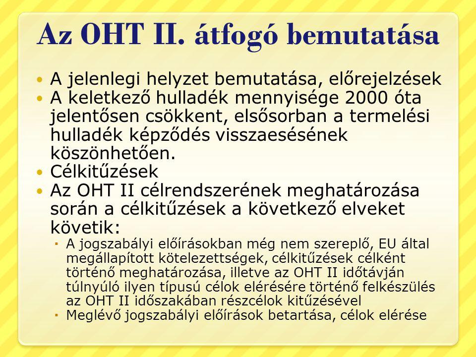 Az OHT II. átfogó bemutatása  A jelenlegi helyzet bemutatása, előrejelzések  A keletkező hulladék mennyisége 2000 óta jelentősen csökkent, elsősorba
