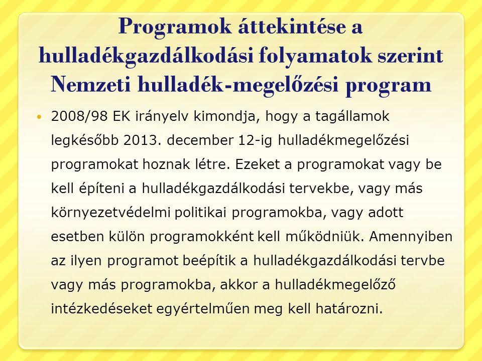 Programok áttekintése a hulladékgazdálkodási folyamatok szerint Nemzeti hulladék-megel ő zési program  2008/98 EK irányelv kimondja, hogy a tagállamok legkésőbb 2013.