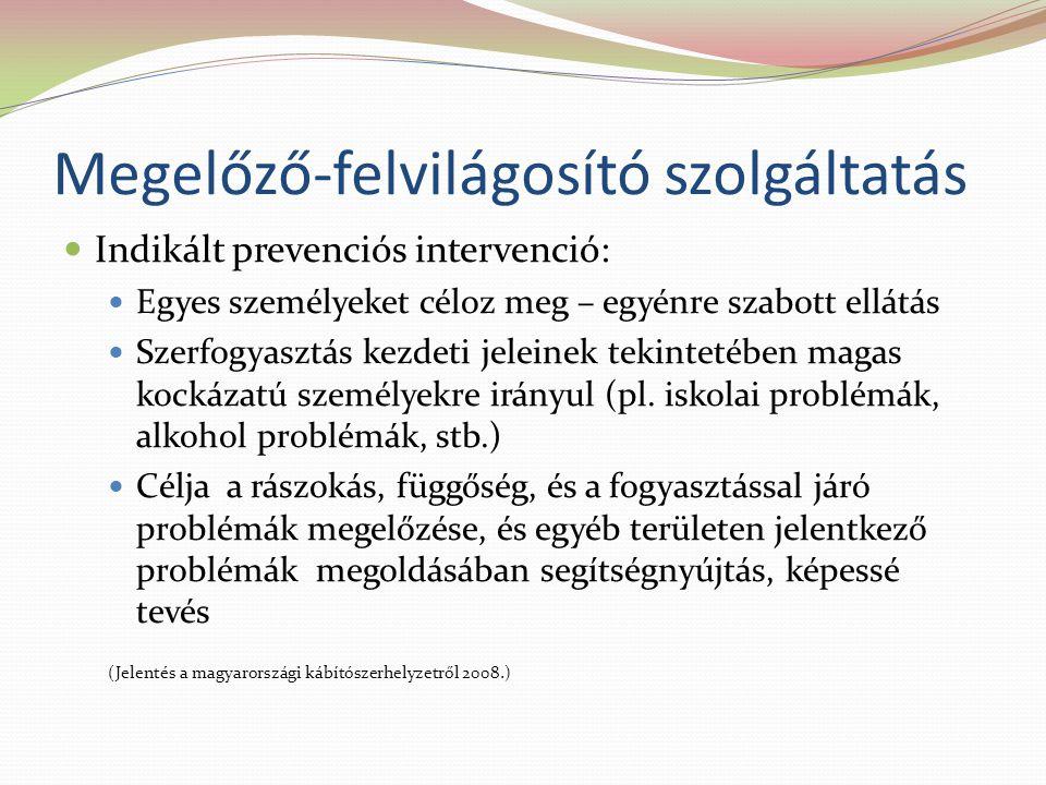 Megelőző-felvilágosító szolgáltatás  Indikált prevenciós intervenció:  Egyes személyeket céloz meg – egyénre szabott ellátás  Szerfogyasztás kezdeti jeleinek tekintetében magas kockázatú személyekre irányul (pl.
