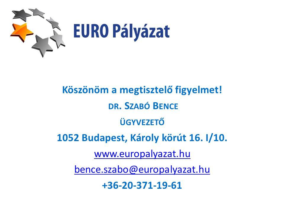 Köszönöm a megtisztelő figyelmet! DR. S ZABÓ B ENCE ÜGYVEZETŐ 1052 Budapest, Károly körút 16. I/10. www.europalyazat.hu bence.szabo@europalyazat.hu +3