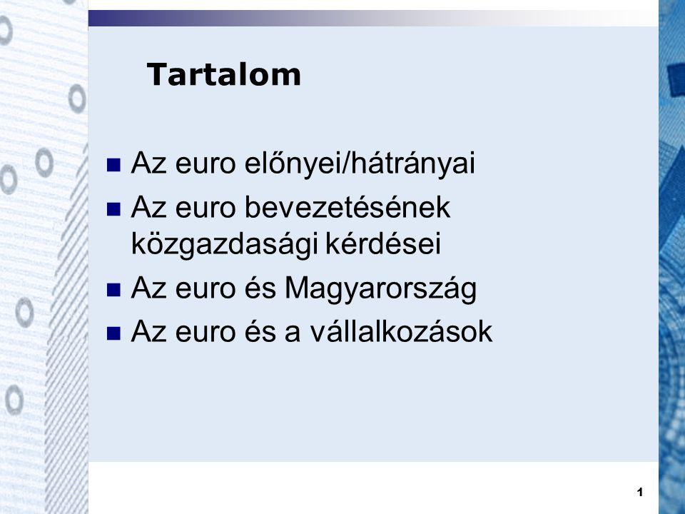 1 Tartalom  Az euro előnyei/hátrányai  Az euro bevezetésének közgazdasági kérdései  Az euro és Magyarország  Az euro és a vállalkozások
