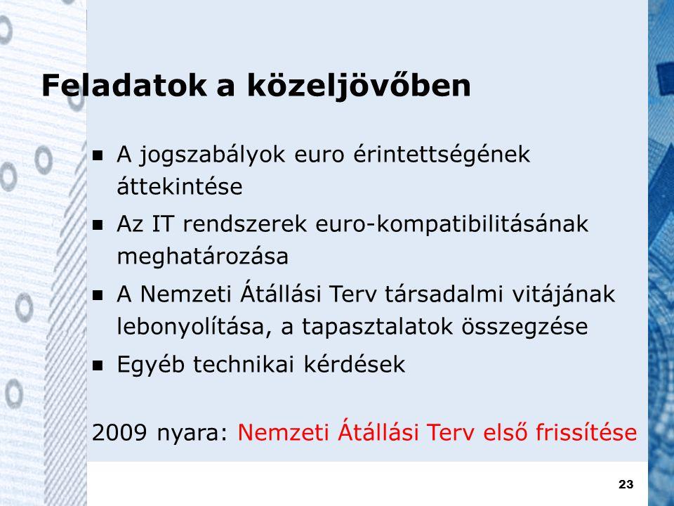 23 Feladatok a közeljövőben  A jogszabályok euro érintettségének áttekintése  Az IT rendszerek euro-kompatibilitásának meghatározása  A Nemzeti Átállási Terv társadalmi vitájának lebonyolítása, a tapasztalatok összegzése  Egyéb technikai kérdések 2009 nyara: Nemzeti Átállási Terv első frissítése