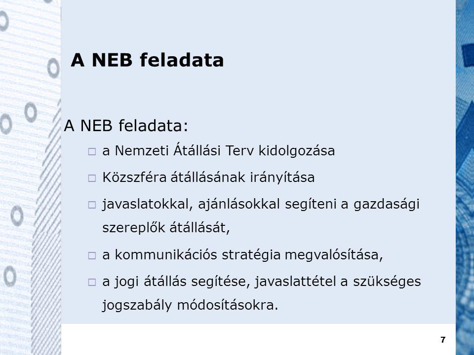 7 A NEB feladata A NEB feladata:  a Nemzeti Átállási Terv kidolgozása  Közszféra átállásának irányítása  javaslatokkal, ajánlásokkal segíteni a gazdasági szereplők átállását,  a kommunikációs stratégia megvalósítása,  a jogi átállás segítése, javaslattétel a szükséges jogszabály módosításokra.