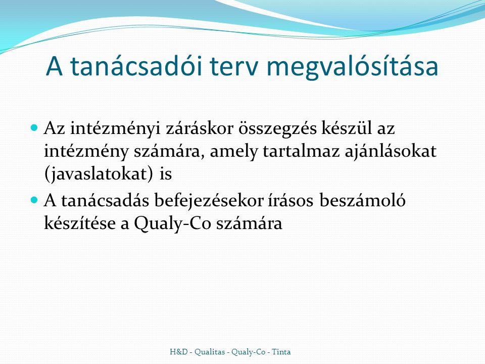 A tanácsadói terv megvalósítása  Az intézményi záráskor összegzés készül az intézmény számára, amely tartalmaz ajánlásokat (javaslatokat) is  A tanácsadás befejezésekor írásos beszámoló készítése a Qualy-Co számára H&D - Qualitas - Qualy-Co - Tinta