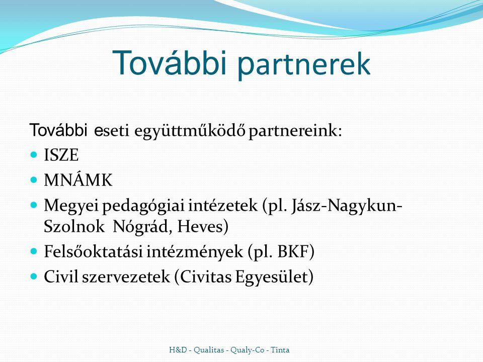 További p artnerek További e seti együttműködő partnereink:  ISZE  MNÁMK  Megyei pedagógiai intézetek (pl.