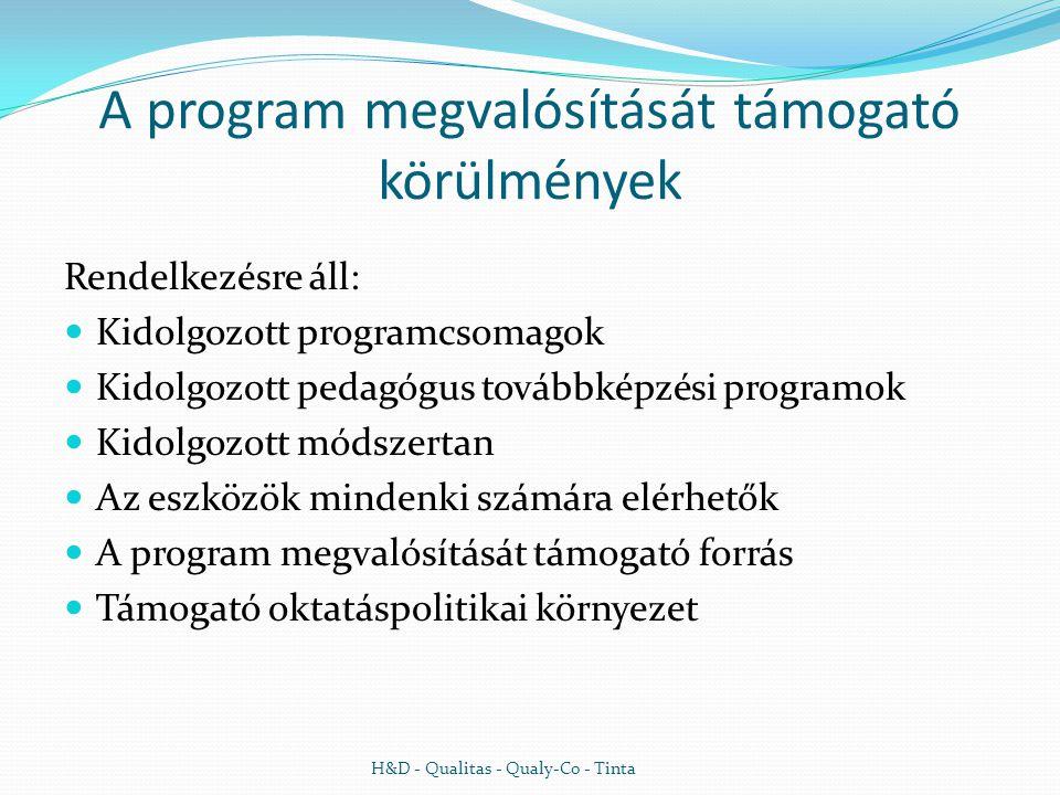 A program megvalósítását támogató körülmények Rendelkezésre áll:  Kidolgozott programcsomagok  Kidolgozott pedagógus továbbképzési programok  Kidolgozott módszertan  Az eszközök mindenki számára elérhetők  A program megvalósítását támogató forrás  Támogató oktatáspolitikai környezet H&D - Qualitas - Qualy-Co - Tinta