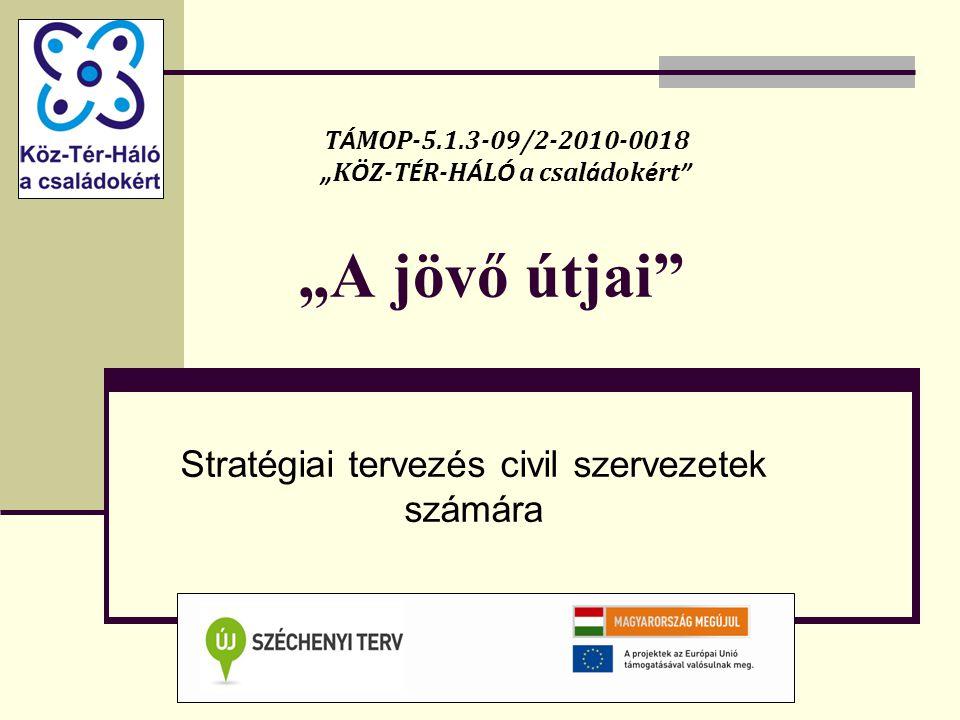 """""""A jövő útjai Stratégiai tervezés civil szervezetek számára T Á MOP-5.1.3-09/2-2010-0018 """" K Ö Z-T É R-H Á L Ó a csal á dok é rt"""
