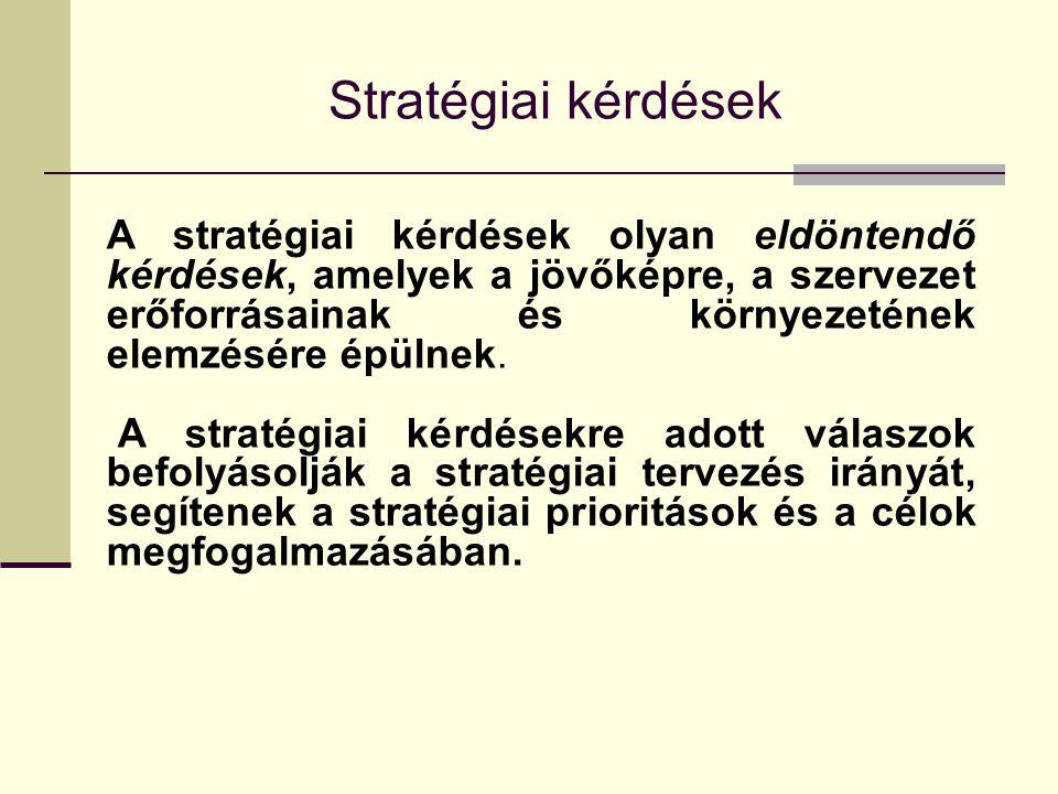 Stratégiai kérdések A stratégiai kérdések olyan eldöntendő kérdések, amelyek a jövőképre, a szervezet erőforrásainak és környezetének elemzésére épülnek.