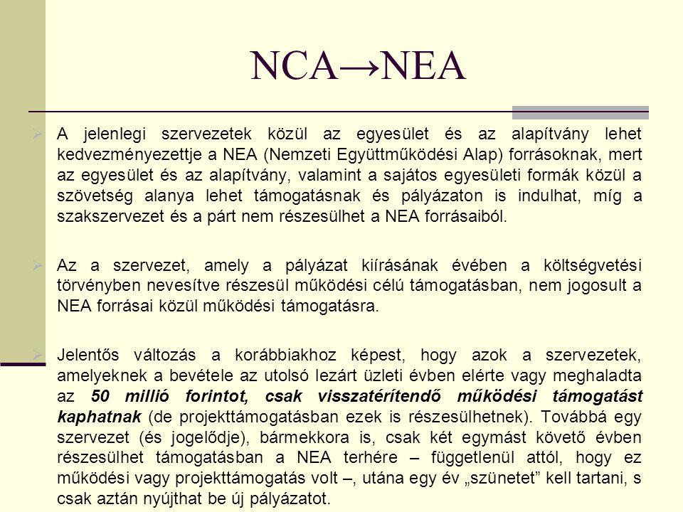  A jelenlegi szervezetek közül az egyesület és az alapítvány lehet kedvezményezettje a NEA (Nemzeti Együttműködési Alap) forrásoknak, mert az egyesület és az alapítvány, valamint a sajátos egyesületi formák közül a szövetség alanya lehet támogatásnak és pályázaton is indulhat, míg a szakszervezet és a párt nem részesülhet a NEA forrásaiból.