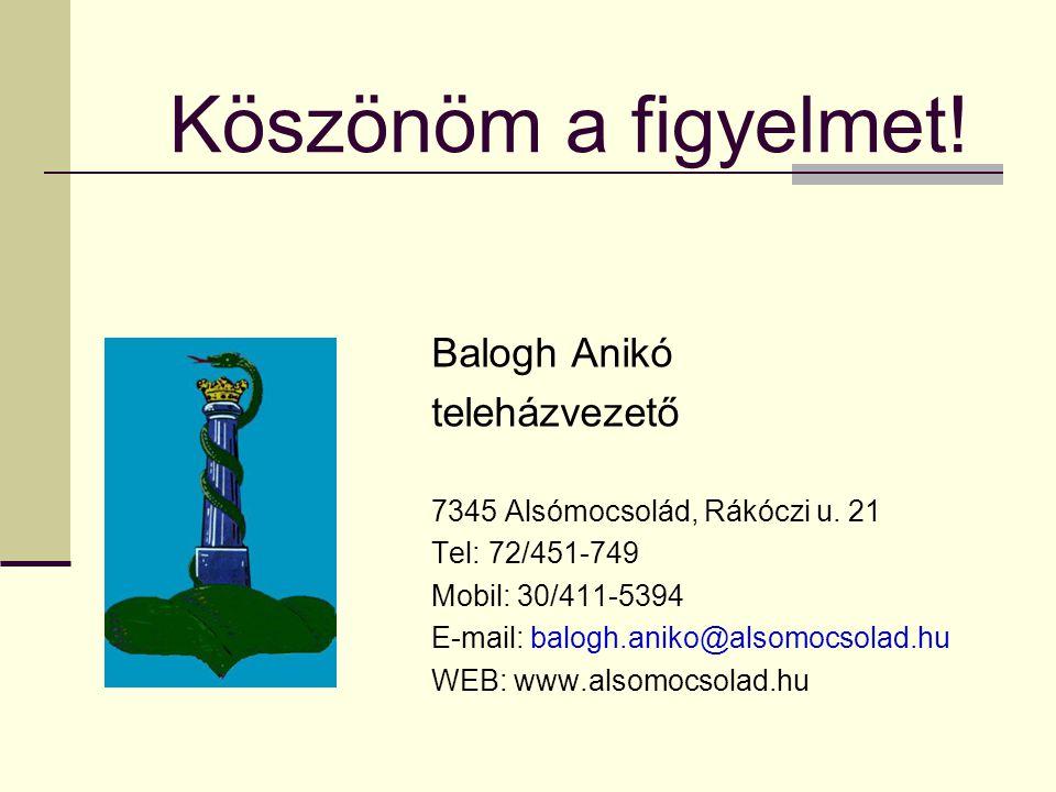 Köszönöm a figyelmet.Balogh Anikó teleházvezető 7345 Alsómocsolád, Rákóczi u.