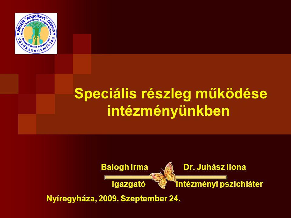 Speciális részleg működése intézményünkben Balogh Irma Dr. Juhász Ilona Igazgató Intézményi pszichiáter Nyíregyháza, 2009. Szeptember 24.