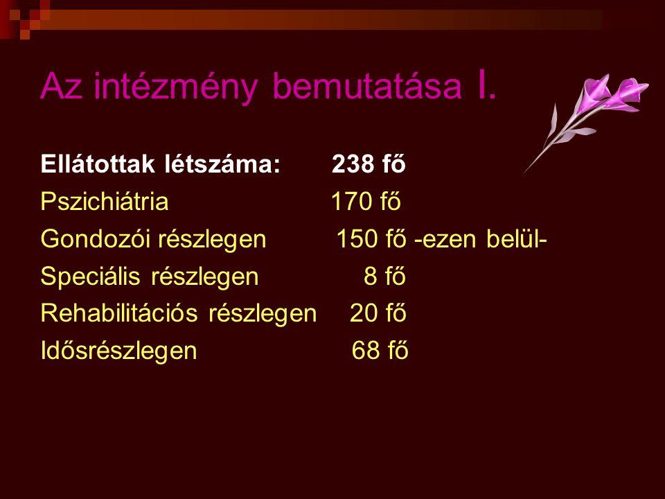 Az intézmény bemutatása I. Ellátottak létszáma: 238 fő Pszichiátria 170 fő Gondozói részlegen 150 fő -ezen belül- Speciális részlegen 8 fő Rehabilitác