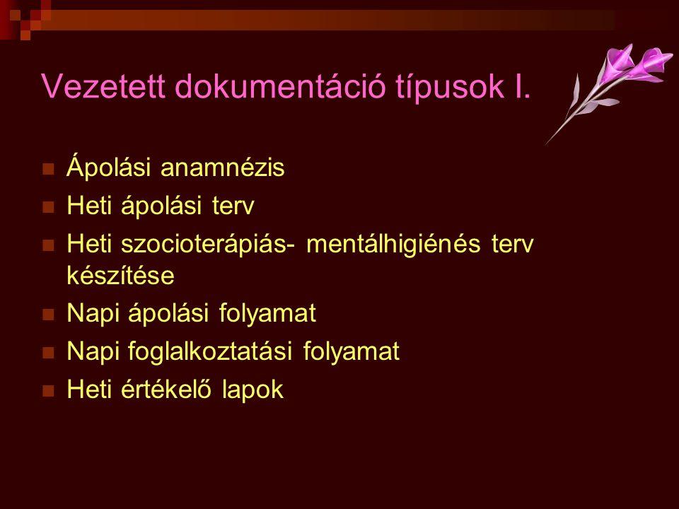 Vezetett dokumentáció típusok I.  Ápolási anamnézis  Heti ápolási terv  Heti szocioterápiás- mentálhigiénés terv készítése  Napi ápolási folyamat