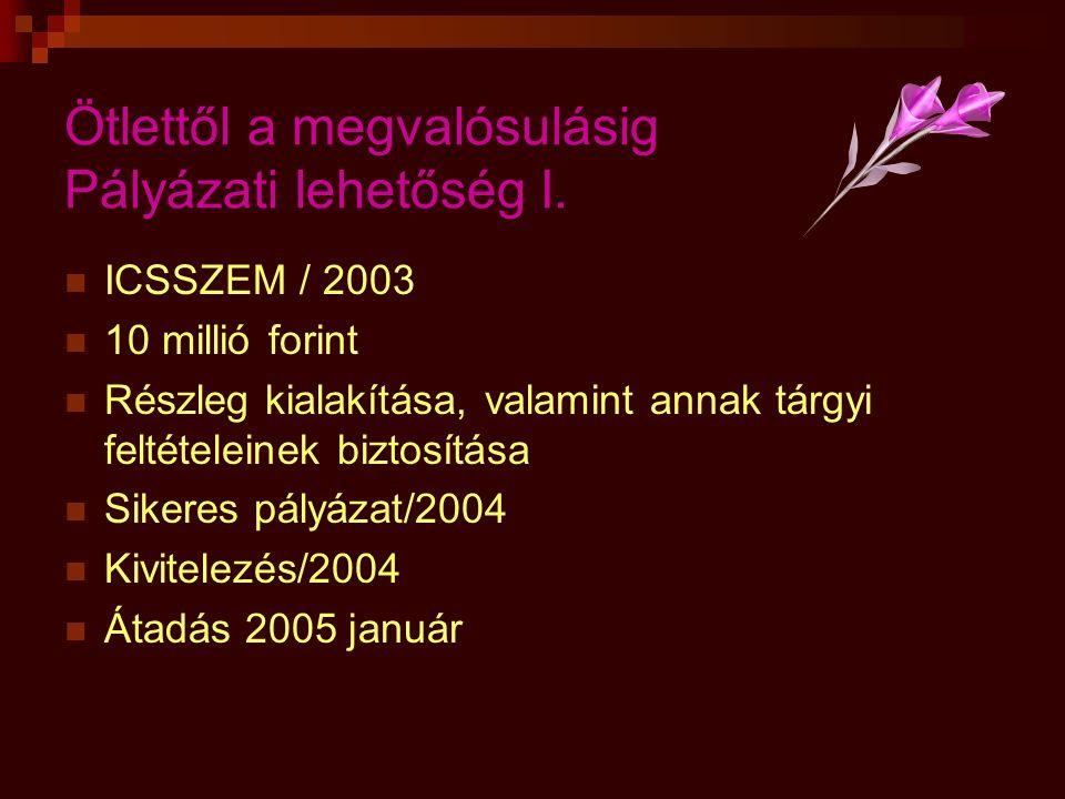 Ötlettől a megvalósulásig Pályázati lehetőség I.  ICSSZEM / 2003  10 millió forint  Részleg kialakítása, valamint annak tárgyi feltételeinek biztos