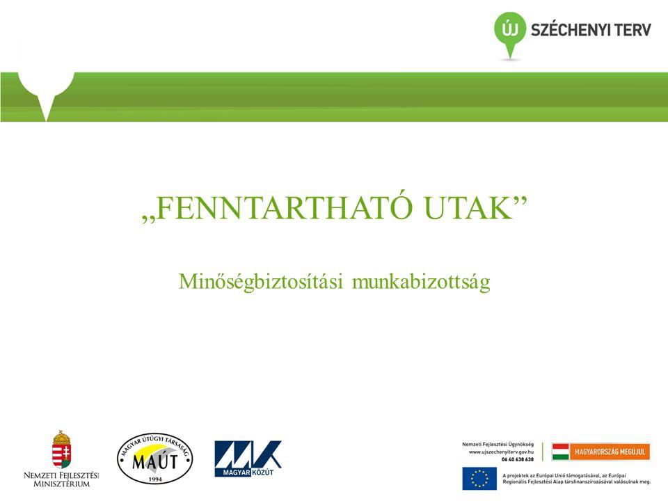 A minőségbiztosítási munkabizottság tevékenysége • A bizottság feladatának tekintette a 2013.05.28-29-i Pályaszerkezet konferencián megfogalmazott irányelvek egységes rendszer szerinti kidolgozását.