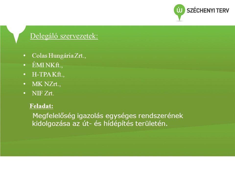 Delegáló szervezetek: • Colas Hungária Zrt., • ÉMI NKft., • H-TPA Kft., • MK NZrt., • NIF Zrt. Feladat: Megfelelőség igazolás egységes rendszerének ki