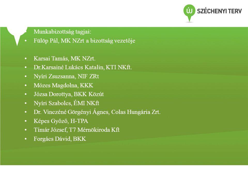 • Munkabizottság tagjai: • Fülöp Pál, MK NZrt a bizottság vezetője • Karsai Tamás, MK NZrt. • Dr.Karsainé Lukács Katalin, KTI NKft. • Nyíri Zsuzsanna,