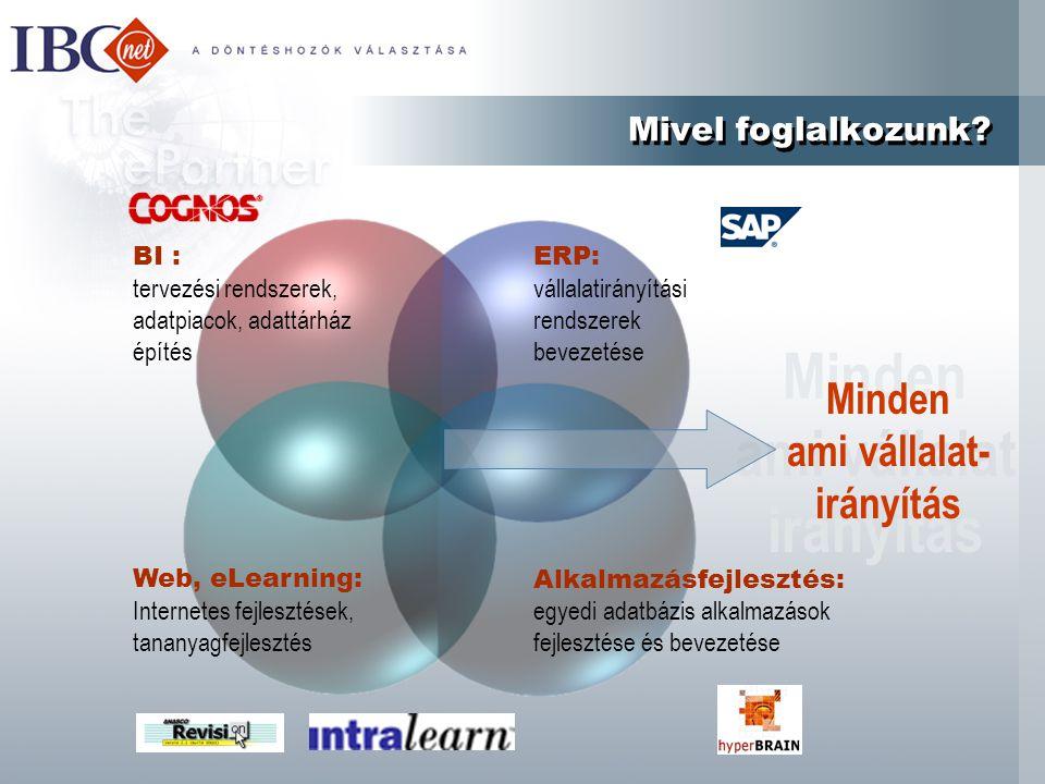 Minden ami vállalat irányítás Mivel foglalkozunk? Web, eLearning: Internetes fejlesztések, tananyagfejlesztés ERP: vállalatirányítási rendszerek bevez