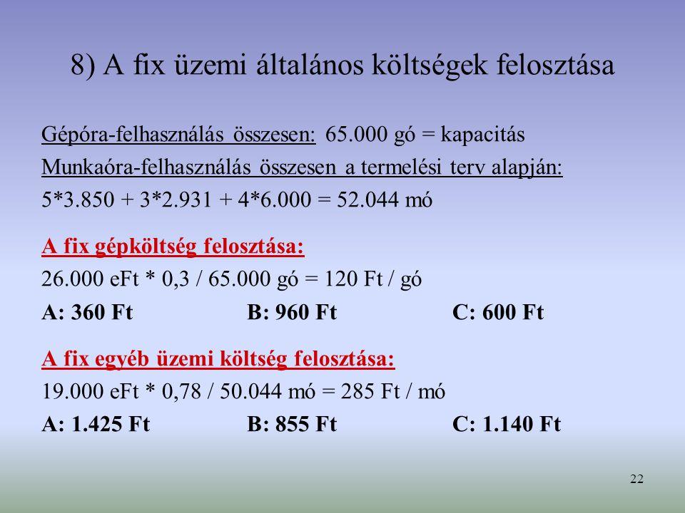 22 8) A fix üzemi általános költségek felosztása Gépóra-felhasználás összesen: 65.000 gó = kapacitás Munkaóra-felhasználás összesen a termelési terv alapján: 5*3.850 + 3*2.931 + 4*6.000 = 52.044 mó A fix gépköltség felosztása: 26.000 eFt * 0,3 / 65.000 gó = 120 Ft / gó A: 360 FtB: 960 FtC: 600 Ft A fix egyéb üzemi költség felosztása: 19.000 eFt * 0,78 / 50.044 mó = 285 Ft / mó A: 1.425 FtB: 855 FtC: 1.140 Ft