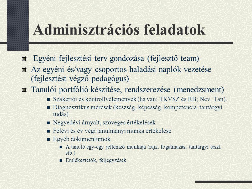 Adminisztrációs feladatok Egyéni fejlesztési terv gondozása (fejlesztő team) Az egyéni és/vagy csoportos haladási naplók vezetése (fejlesztést végző p