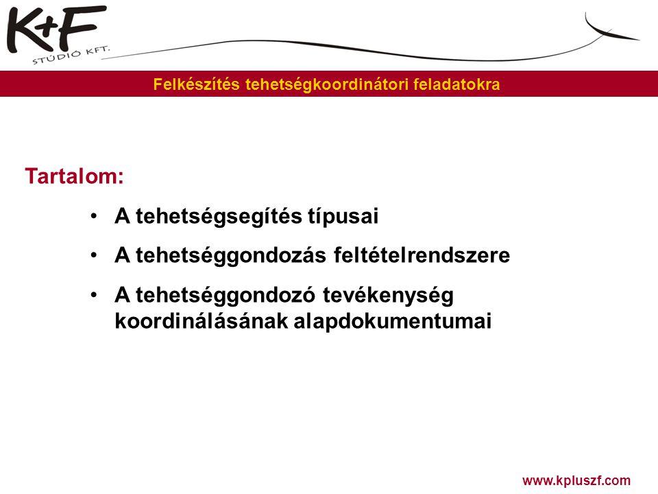 www.kpluszf.com Felkészítés tehetségkoordinátori feladatokra Tartalom: •A tehetségsegítés típusai •A tehetséggondozás feltételrendszere •A tehetséggon