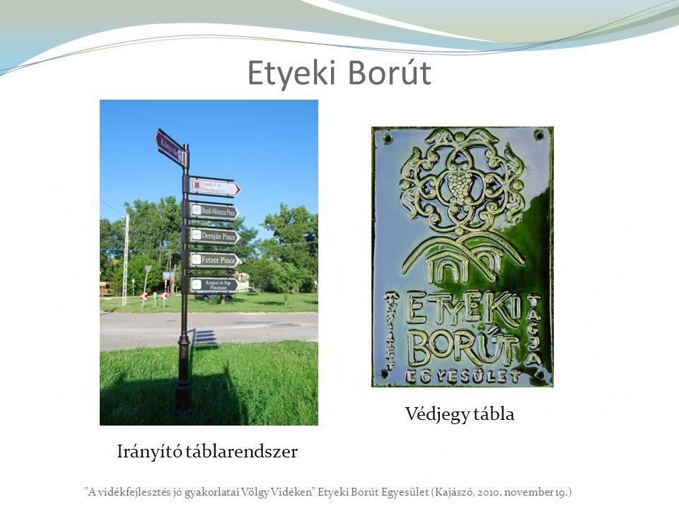 """Etyeki Borút """"A vidékfejlesztés jó gyakorlatai Völgy Vidéken"""" Etyeki Borút Egyesület (Kajászó, 2010. november 19.) Irányító táblarendszer Védjegy tábl"""