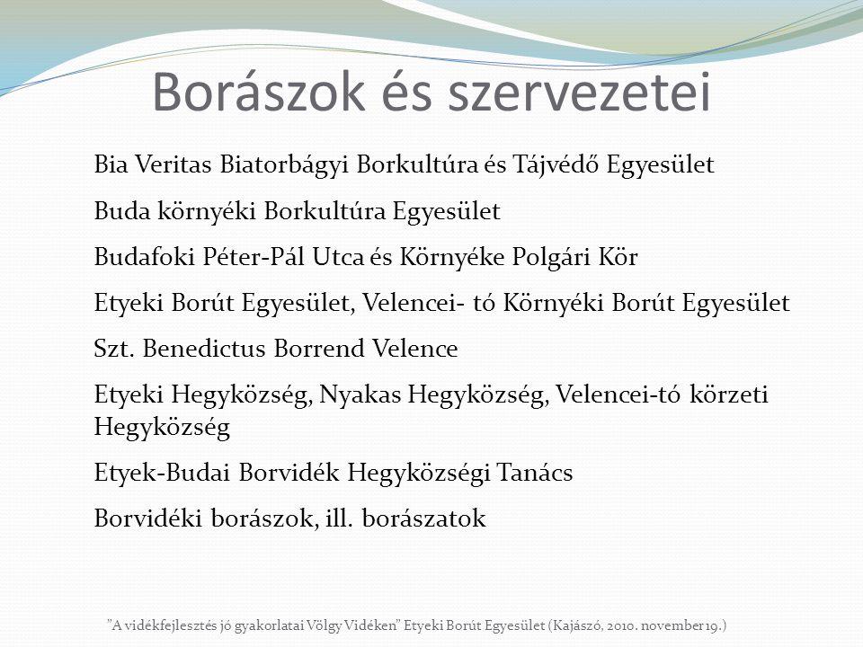 """Borászok és szervezetei """"A vidékfejlesztés jó gyakorlatai Völgy Vidéken"""" Etyeki Borút Egyesület (Kajászó, 2010. november 19.) Bia Veritas Biatorbágyi"""