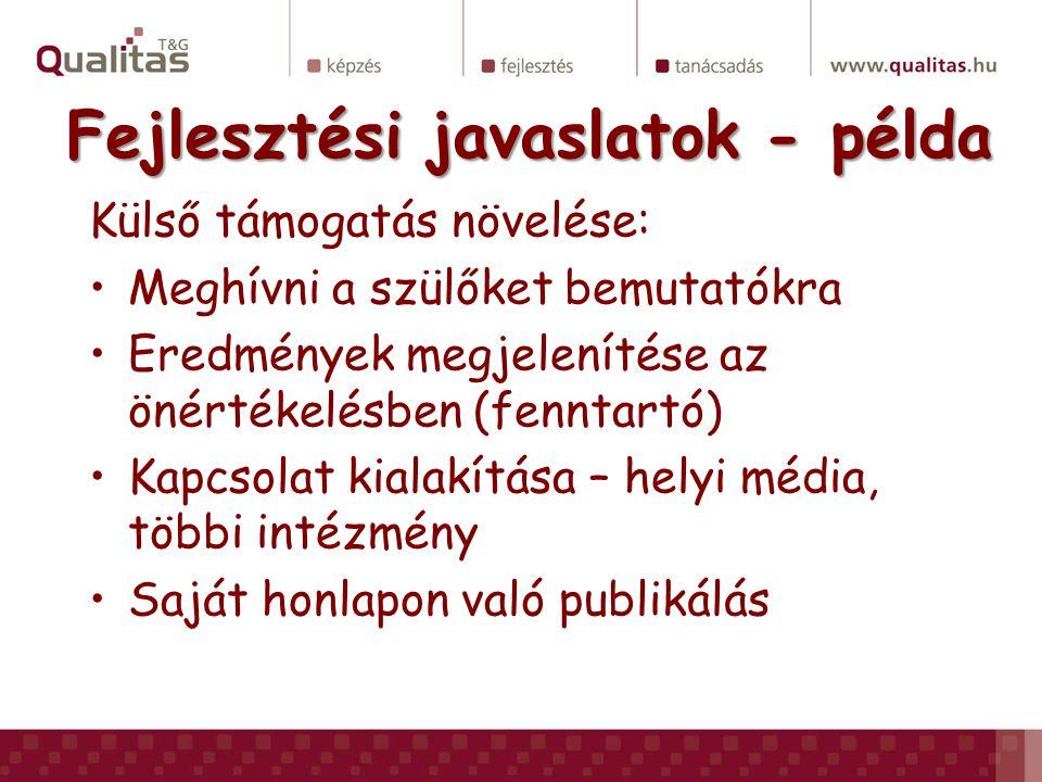 Fejlesztési javaslatok - példa Külső támogatás növelése: •Meghívni a szülőket bemutatókra •Eredmények megjelenítése az önértékelésben (fenntartó) •Kapcsolat kialakítása – helyi média, többi intézmény •Saját honlapon való publikálás
