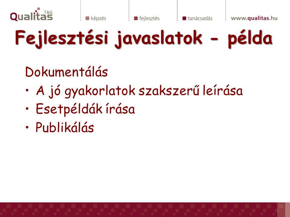 Fejlesztési javaslatok - példa Dokumentálás •A jó gyakorlatok szakszerű leírása •Esetpéldák írása •Publikálás