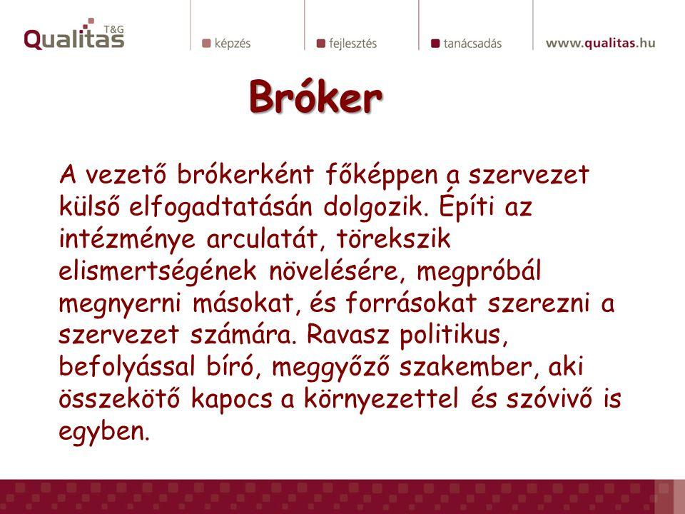 Bróker A vezető brókerként főképpen a szervezet külső elfogadtatásán dolgozik. Építi az intézménye arculatát, törekszik elismertségének növelésére, me