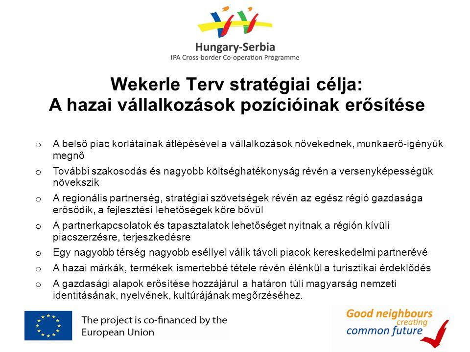 Wekerle Terv stratégiai célja: A hazai vállalkozások pozícióinak erősítése o A belső piac korlátainak átlépésével a vállalkozások növekednek, munkaerő