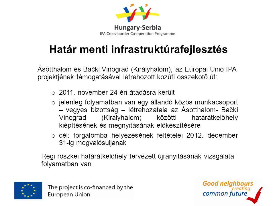 Határ menti infrastruktúrafejlesztés Ásotthalom és Bački Vinograd (Királyhalom), az Európai Unió IPA projektjének támogatásával létrehozott közúti összekötő út: o 2011.