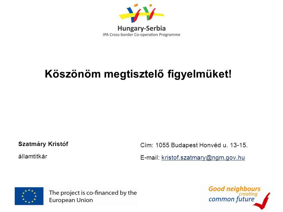 Köszönöm megtisztelő figyelmüket! Szatmáry Kristóf államtitkár Cím: 1055 Budapest Honvéd u. 13-15. E-mail: kristof.szatmary@ngm.gov.hu