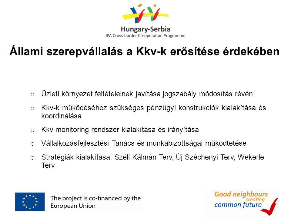 Állami szerepvállalás a Kkv-k erősítése érdekében o Üzleti környezet feltételeinek javítása jogszabály módosítás révén o Kkv-k működéséhez szükséges pénzügyi konstrukciók kialakítása és koordinálása o Kkv monitoring rendszer kialakítása és irányítása o Vállalkozásfejlesztési Tanács és munkabizottságai működtetése o Stratégiák kialakítása: Széll Kálmán Terv, Új Széchenyi Terv, Wekerle Terv