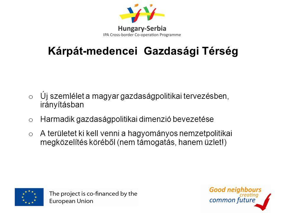o Új szemlélet a magyar gazdaságpolitikai tervezésben, irányításban o Harmadik gazdaságpolitikai dimenzió bevezetése o A területet ki kell venni a hagyományos nemzetpolitikai megközelítés köréből (nem támogatás, hanem üzlet!) Kárpát-medencei Gazdasági Térség