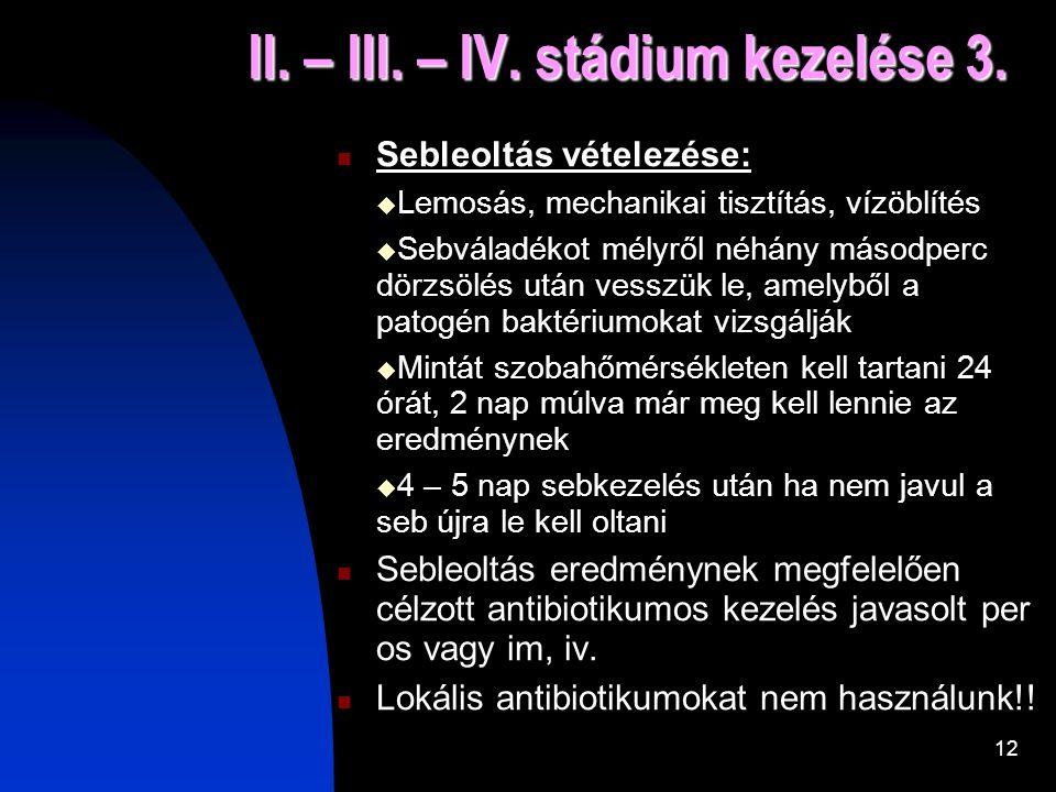 11 II. – III. – IV. stádium kezelése 2. 2, Infekciók:  A sebleoltásban a mikroorganizmusok száma magas  Biofilm: baktériumtenyészet (antibiotikum ne