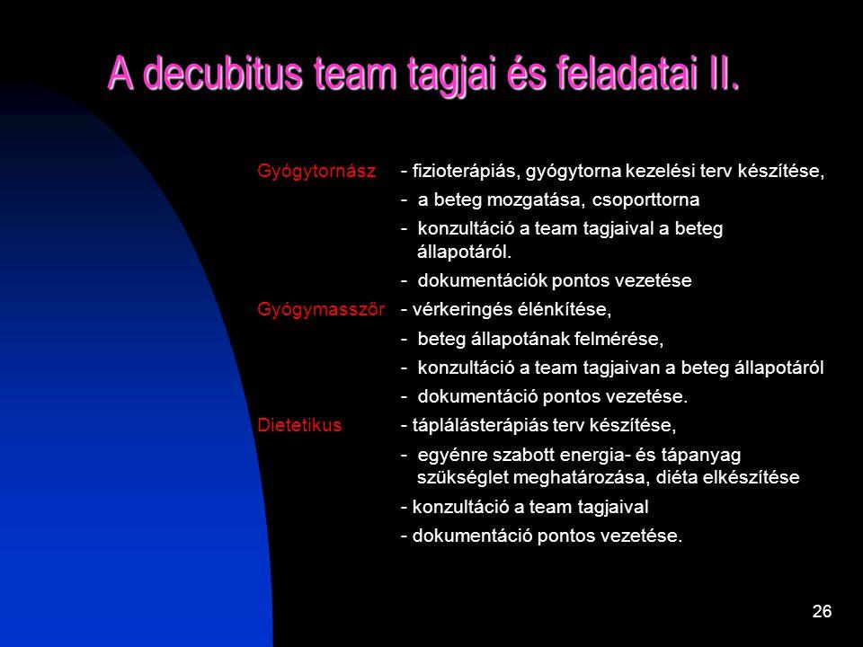 25 A decubitus team tagjai és feladatai I. Orvos – vizsgálatok elrendelése, - kezelési terv meghatározása, - dokumentálás a kórlapban - a III. és a VI