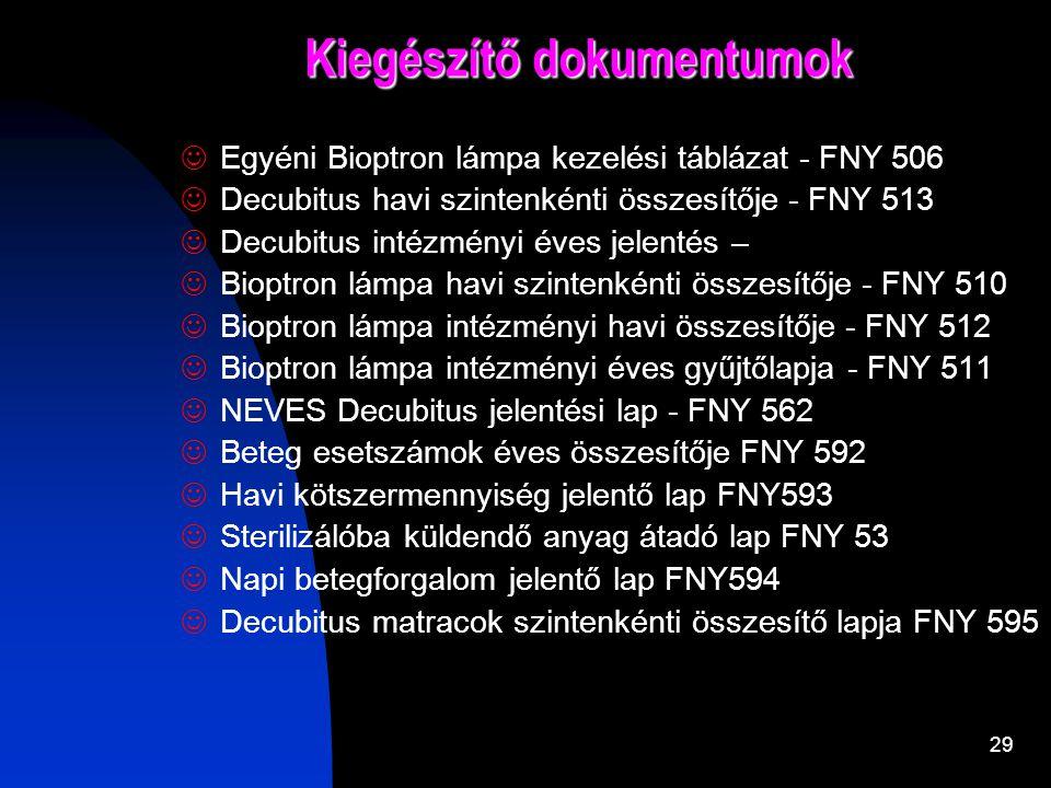 28 Főbb dokumentumok  Ápolási dokumentáció - FNY 257  Decubitus ápolási lap -FNY 548  Decubitus felmérés - FNY 551  Decubitus napi ápolási lap - F