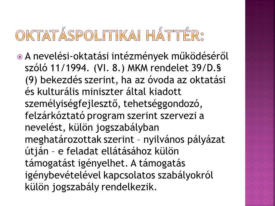  A nevelési-oktatási intézmények működéséről szóló 11/1994.