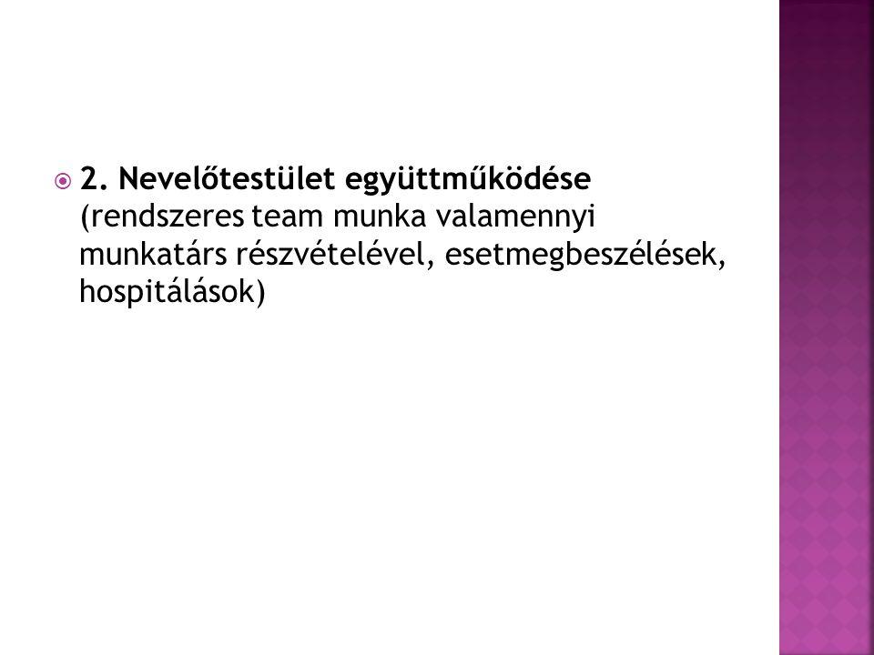  2. Nevelőtestület együttműködése (rendszeres team munka valamennyi munkatárs részvételével, esetmegbeszélések, hospitálások)