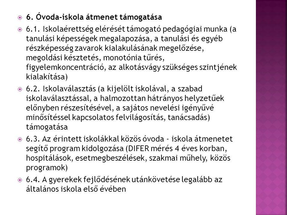  6.Óvoda-iskola átmenet támogatása  6.1.