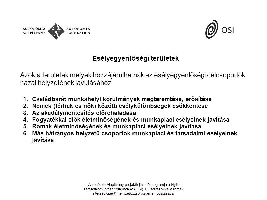 """Autonómia Alapítvány projektfejlesztő programja a Nyílt Társadalom Intézet Alapítvány (OSI) """"EU forrásokkal a romák integrációjáért nemzetközi programámogatásával 132."""