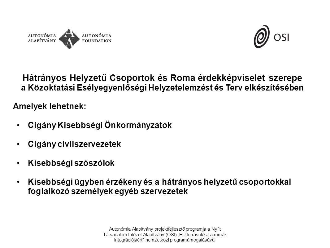 """Autonómia Alapítvány projektfejlesztő programja a Nyílt Társadalom Intézet Alapítvány (OSI) """"EU forrásokkal a romák integrációjáért nemzetközi programámogatásával Hátrányos Helyzetű Csoportok és Roma érdekképviselet szerepe a Közoktatási Esélyegyenlőségi Helyzetelemzést és Terv elkészítésében Amelyek lehetnek: •Cigány Kisebbségi Önkormányzatok •Cigány civilszervezetek •Kisebbségi szószólok •Kisebbségi ügyben érzékeny és a hátrányos helyzetű csoportokkal foglalkozó személyek egyéb szervezetek"""