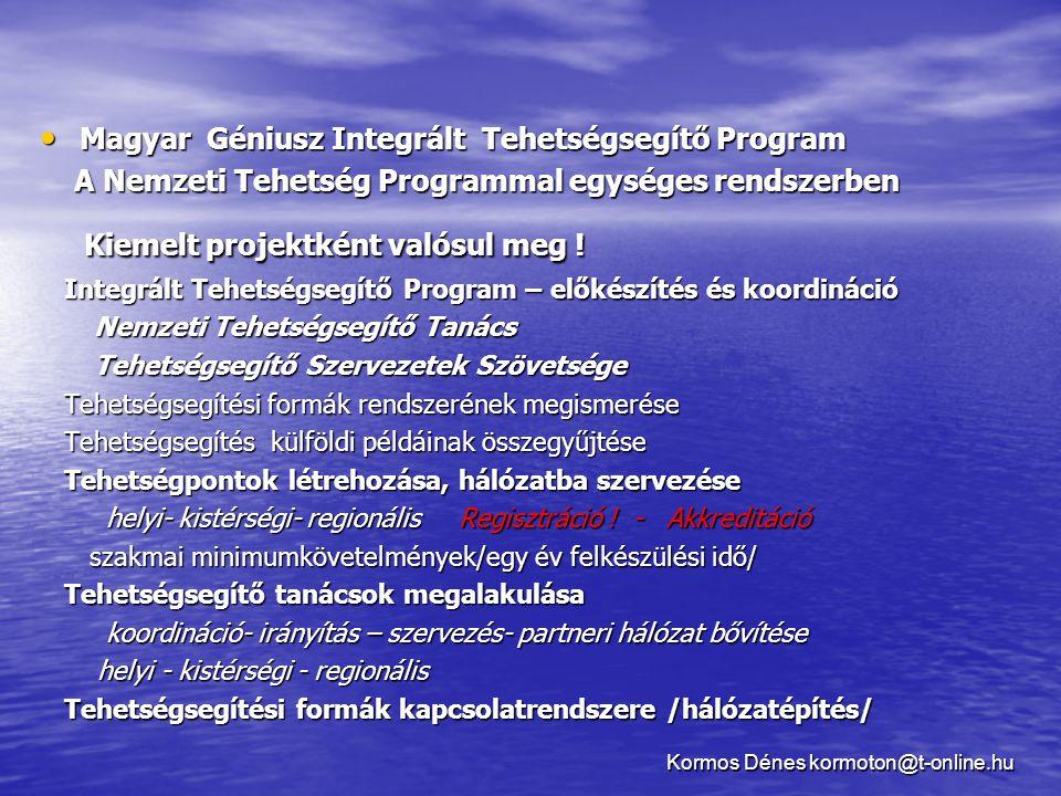 • Magyar Géniusz Integrált Tehetségsegítő Program A Nemzeti Tehetség Programmal egységes rendszerben A Nemzeti Tehetség Programmal egységes rendszerbe