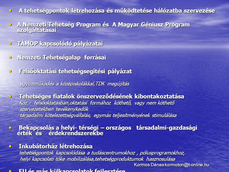 • A tehetségpontok létrehozása és működtetése hálózatba szervezése • A Nemzeti Tehetség Program és A Magyar Géniusz Program szolgáltatásai • TÁMOP kap